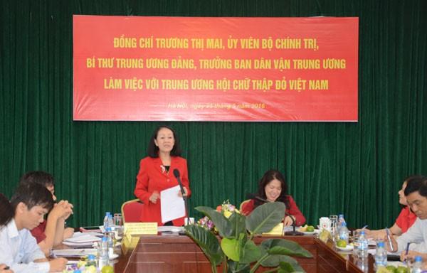 Trưởng ban Dân vận Trung ương làm việc với Hội Liên hiệp Phụ nữ và Trung ương Hội Chữ Thập đỏ VN - ảnh 1