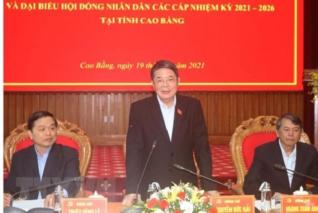 Phó Chủ tịch Quốc hội Nguyễn Đức Hải kiểm tra công tác bầu cử tại Cao Bằng - ảnh 1