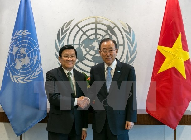 ประธานประเทศเจืองเติ๊นซางพบปะกับเลขาธิการใหญ่สหประชาชาติ - ảnh 1