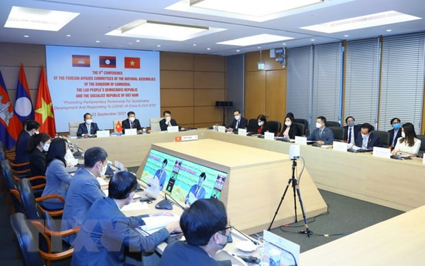 คณะกรรมาธิการวิเทศสัมพันธ์ของรัฐสภากัมพูชา ลาวและเวียดนามออกแถลงการณ์ร่วมที่เรียกร้องการแบ่งปันวัคซีนป้องกันโควิด - ảnh 1
